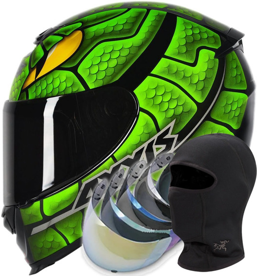 Capacete Mt Axxis Snake Verde+viseira+toca