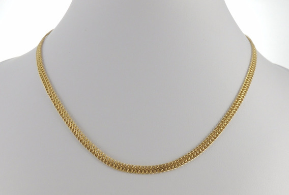 Conjunto Gargantilha Grumet Lacraia + Pulseira 16cm Ouro 18k