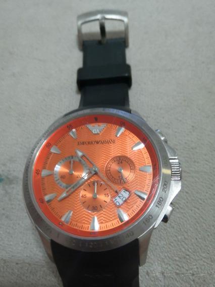 Relógio Armani (caixa Laranja + Pulseira Preta)