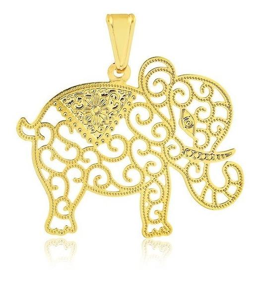 Pingente Semijoia Elefante Vazado Filigrana Estilo Indiano