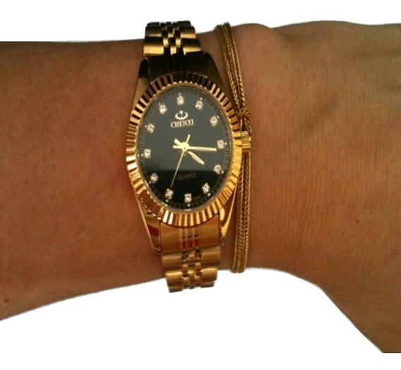 Relógio Feminino De Pulso Cor Ouro Aço Analógico