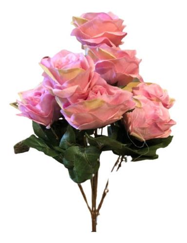 Imagem 1 de 2 de Buquê De Rosas X9 55cm - Rosa Outono