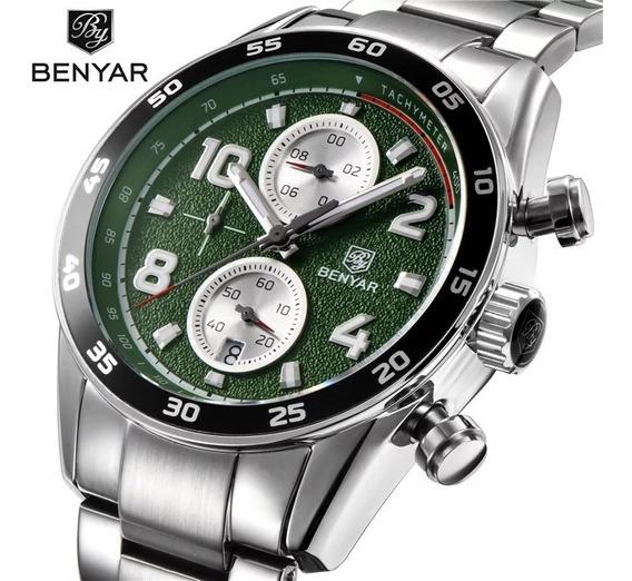 Relógio Masculino Benyar 5126 Original Fundo Verde