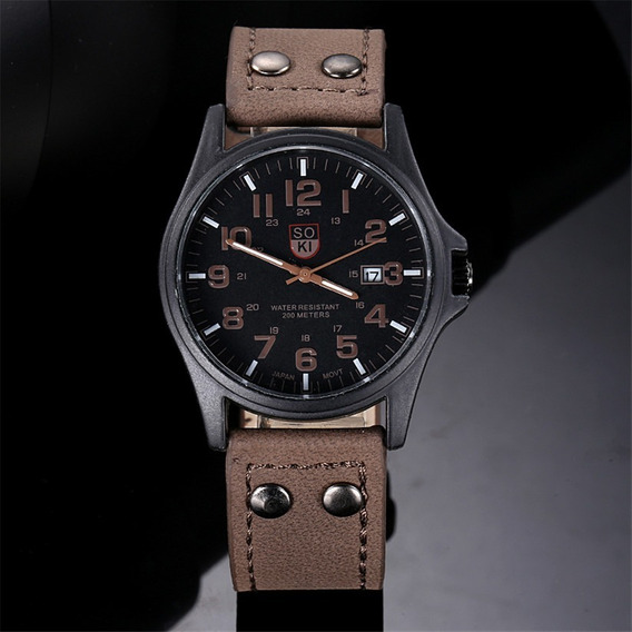 Relógio Masculino Soki Militar Pulseira De Couro Social Luxo