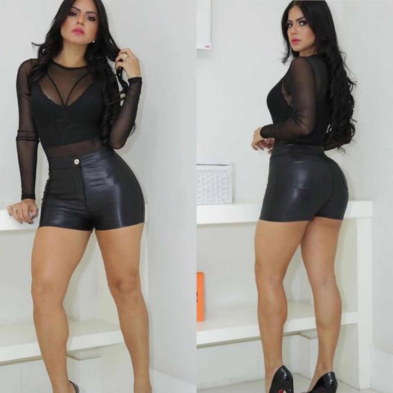 Short Shortinho Cirre Couro Fake Roupas Femininas