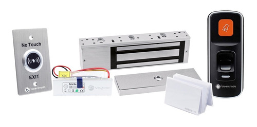Kit Control Acceso Biométrico + Tarjeta, Electroimán Y Botón