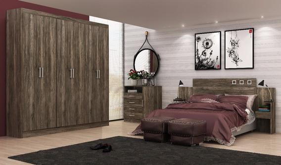 Dormitório Casal Guarda Roupa Cômoda Cabeceira Com Criados
