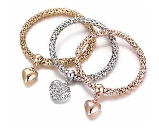 Set 3 Pulseras Dama Mujer Corazón Candado Cristal