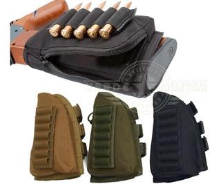 Bolsa Cartuchera Culata Táctica Para Escopeta Rifle Balas Munición Cacería Porta 6 Tiros Rápidos Ajustable Envío Gratis