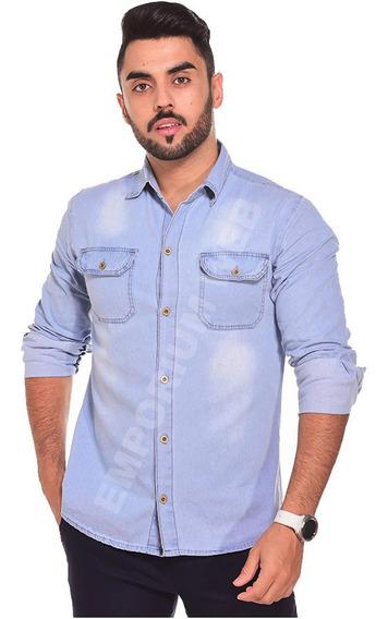Camisa Jeans Masculina Manga Longa Casual Nacional Atacado