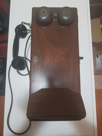 Telefone De Madeira Antigo De Parede, Anos 30