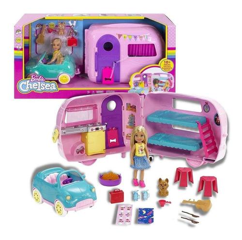 Imagem 1 de 7 de Boneca Barbie Family Chelsea E Trailer De Acampamento Mattel