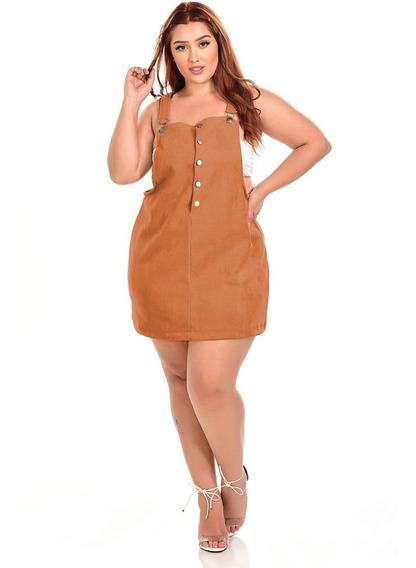 Vestido Jardineira Tamanhos Grandes Plus Size Soltinho Leve