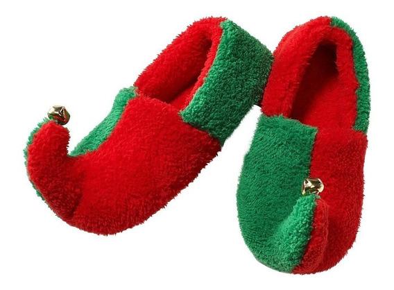 Pantuflas De Duende Para Adulto Rojo Con Verde, Con Cascabel