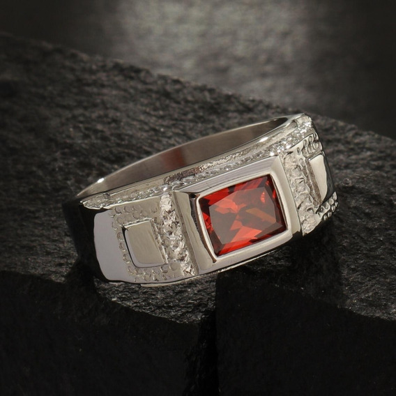 Anel Masculino De Aço Com Pedra De Zircônia Vermelha