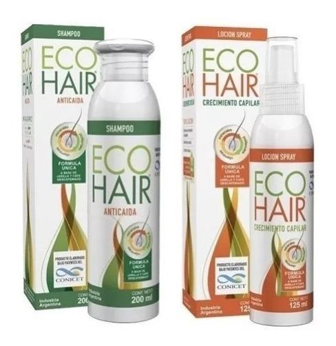 Eco Hair Loción Shampoo Kit Set Caída Capilar Crecimiento