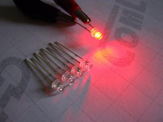 5x Mini Led Flat Top Alto Brilho Vermelho Neon 2v Topo Plano