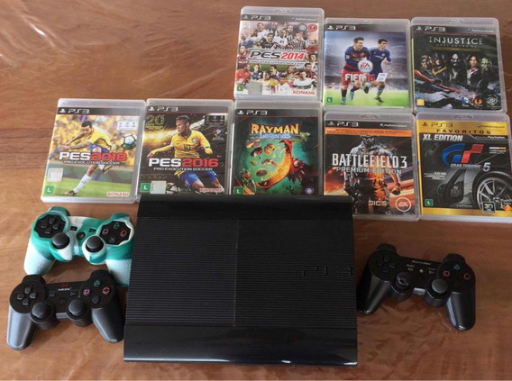 Play Station 3 (ps3) Superslim 250gb + 3 Controles + 9 Jogos