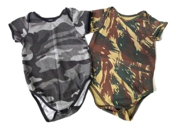 2 Bodys Camuflado Exército E Urbano Manga Curta - Bebê