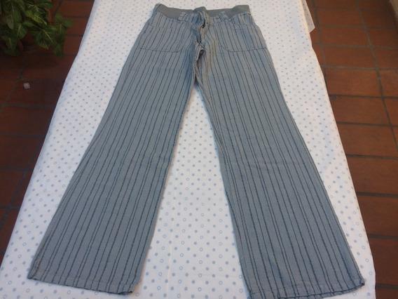 Pantalon Mujer Lienzo Gris Rayado Recto Talle 1 O 38 O 40