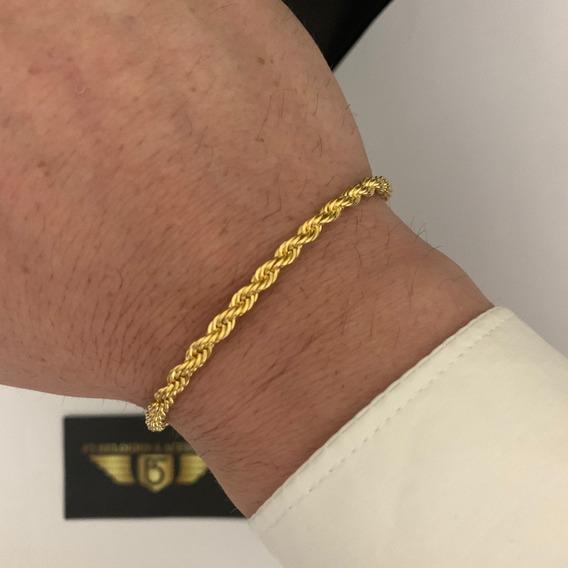 Pulseira Elo Baiano 4mm Banhada A Ouro 18k Masculina