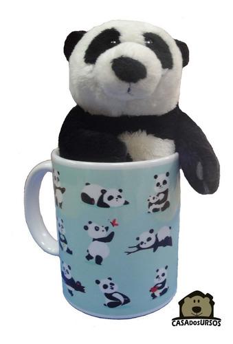 Caneca Com Urso Panda 15cm Cute Azul Xicara Porcelana 330ml