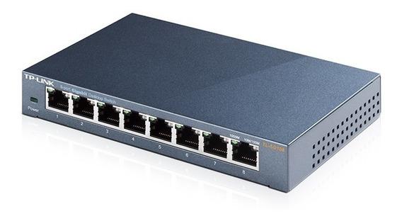 Switch Gerenciavel Gigabit De 8 Portas Tp-link Tl-sg108e