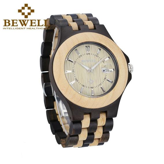 Relógio Pulso Madeira Bewell Original + Estojo - Importado