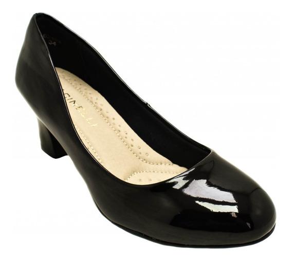 Sapato Feminino Facinelli Verniz 62402 - Salto Grosso Estilo