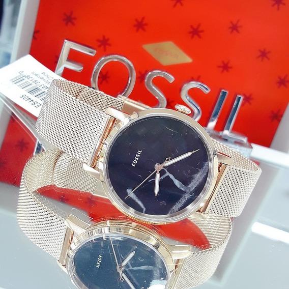 Relógio Feminino Fossil Es4405 Dourado Ouro Rose 18k Dial Preto