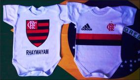 Kit Com 2 Body Infantil Personalizado Flamengo - Nome-ribana