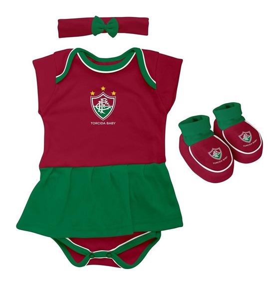 Body Bebe + Pantufa + Lacinho Menina Fluminense Oficial