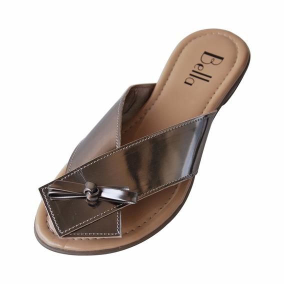 Sandália Rasteira Bella Shoes Ouro Velho