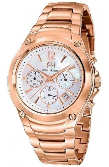 Relógio Feminino Ana Hickmann Ah30228z Rosê Cronógrafo