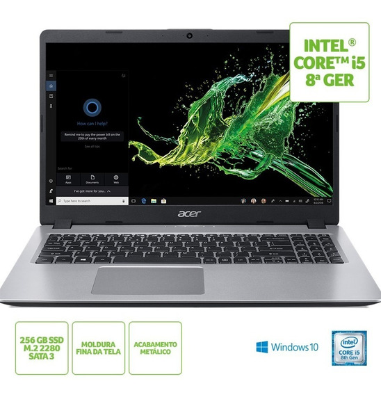 Notebook Acer Aspire 5, Core I5 (8ª Ger), 8 Gb, Ssd 256 Gb