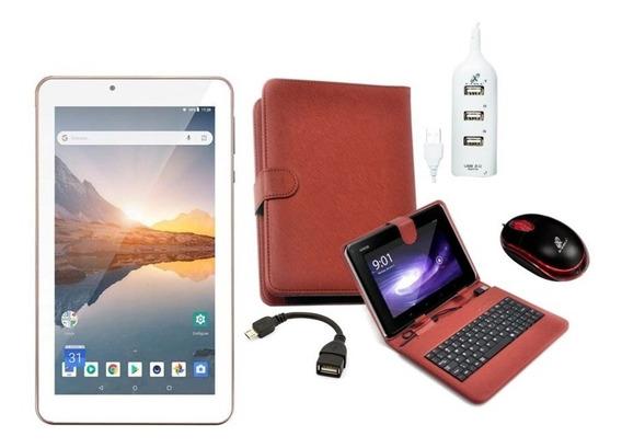 Tablet Rosa Com 16gb Android 8.1 Capa Com Teclado Mouse Hub