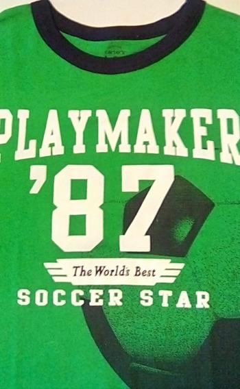 Playera O Camiseta Niño Carters 5t 5 Años Verde Con Azul