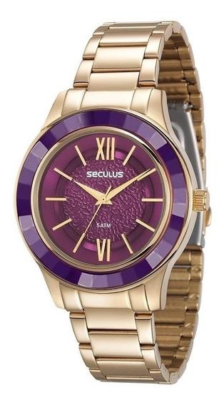Relógio Seculus Feminino Dourado 23559lpsvds4