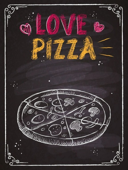 Placas Decorativas Amor Pizza Pd 49 20x27cm