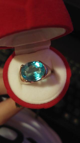 Anel Em Prata Com Cristal Azul