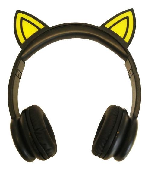 Fone De Ouvido Headphone Orelhas De Gato Gatinho Led P2 Mic