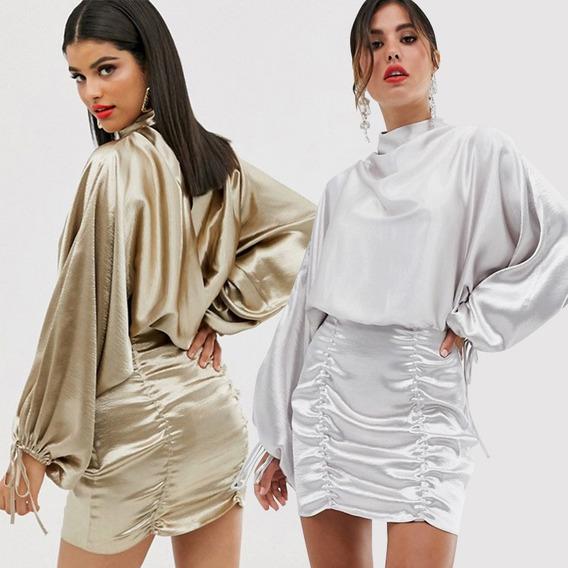 Vestido De Cuello Alto Para Mujer, Espalda Abierta, Larga, A