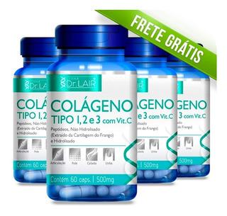 4 - Colágeno 1 2 3 Dr Lair - 500mg / 60 Caps - Frete Grátis