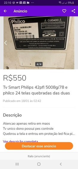 Tv Led Philips 42pfl 5008g/78 E Philco 24