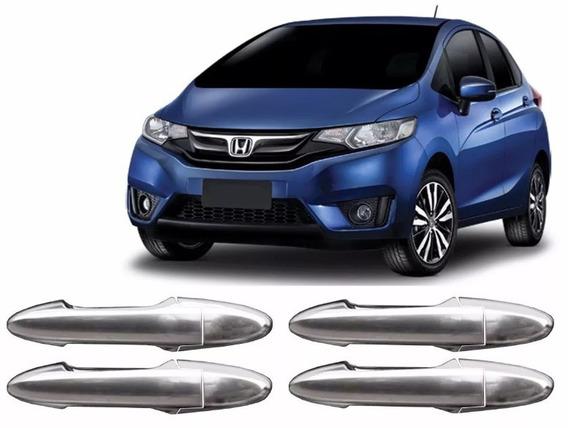 Kit Aplique Maçaneta Cromado - Honda Fit 2015 Até 2018