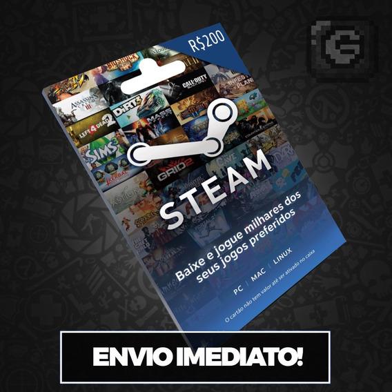 Steam Cartão Pré-pago De R$200 Reais Crédito Card Imediato