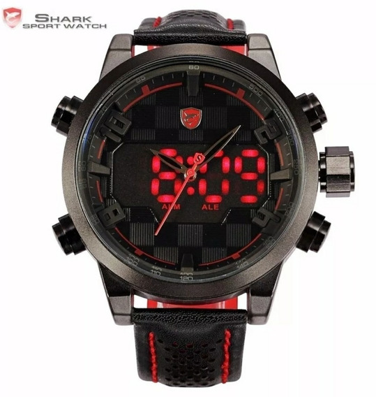 Relógio Esportivo Shark C/ Pulseira De Couro Sh203 Original