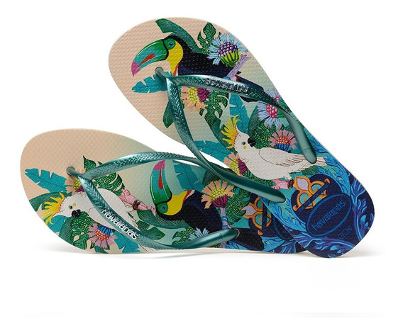 Sandálias Havaianas - Chinelo Feminino Slim Bege Palha/verde