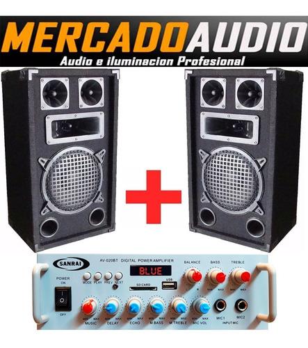 Imagen 1 de 4 de Combo Karaoke Amplificador Bluetooth Usb + 2 Bafles 8 PuLG
