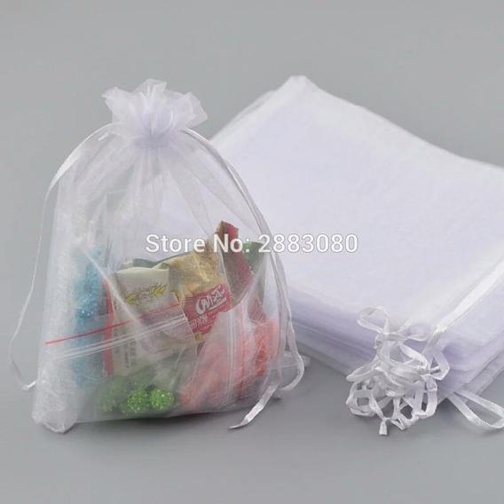 200 Bolsas De Organza En Blanco,azul Recuerdos Boda 13x18